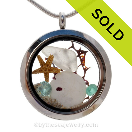 White Sea Glass Locket With Sandollar & Aquamarine Crystal Gem - March Birthstone