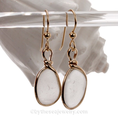 Smaller and Thicker Ovals of White Genuine Sea Glass Earrings In Goldfilled Original Wire Bezel©