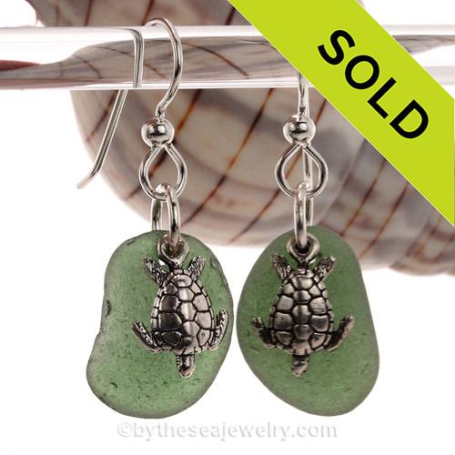 Green Genuine Sea Glass Earrings On Sterling W/ Sterling Sea Turtle Charms
