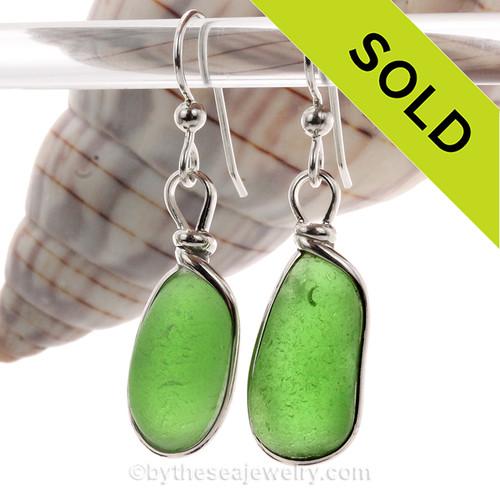 A'Glowin Green Beach Found Sea Glass In Sterling Silver Original Bezel© Earrings