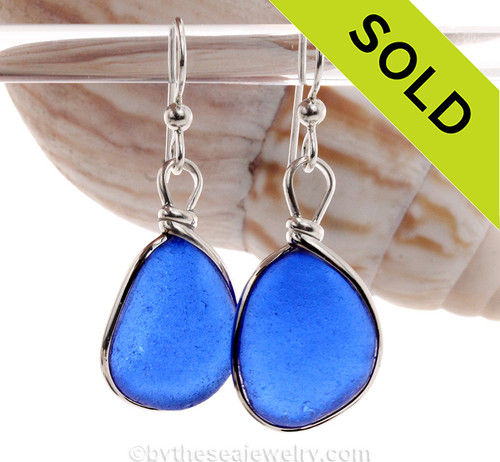 Large Blue Genuine Natural Sea Glass Earrings Solid Sterling Silver Original Wire Bezel©