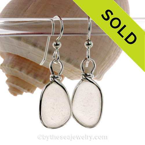 Natural UNALTERED and P-E-R-F-E-C-T white Sea Glass Earrings set in our Original Wire Bezel© setting in solid sterling silver.