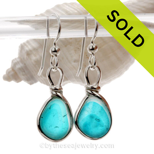 SUPER ULTRA RARE - Petite and Perfect Electric Aquamarine Sterling English Multi Sea Glass Earrings In Sterling Original Wire Bezel©