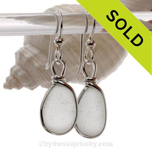 P-E-R-F-E-C-T Thick White Genuine Sea Glass Earrings In Sterling Original Wire Bezel©