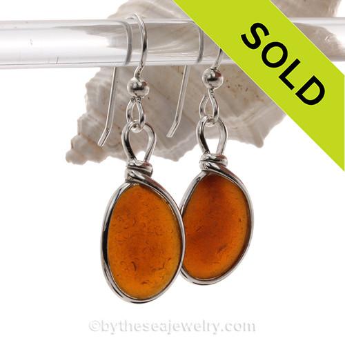 Glowing Amber Brown Genuine Sea Glass Earrings In Sterling Original Wire Bezel©