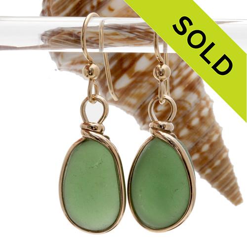 Vivid Seaweed Green or Peridot Genuine Sea Glass In Gold Original Bezel©