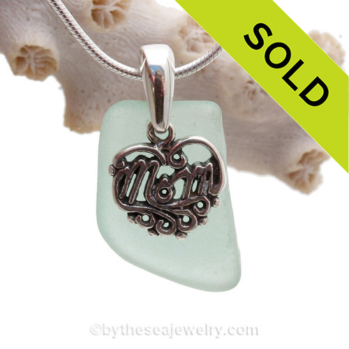 For MOM -Pale Aqua Sea Glass With Sterling Mom Charm - S/S Snake CHAIN INCLUDED