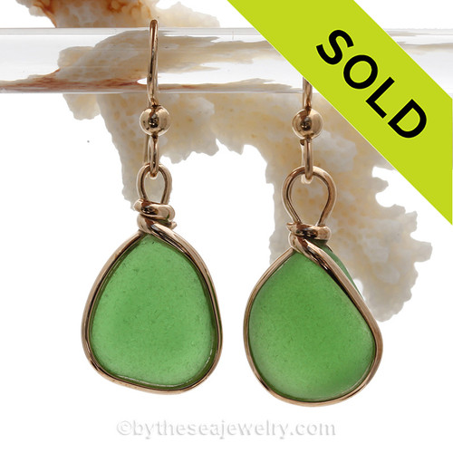 Natural Genuine UNALTERED sea glass pieces in a Vivid Green expertly wrapped in 14K Rolled Gold for a lovely classic pair or earrings!