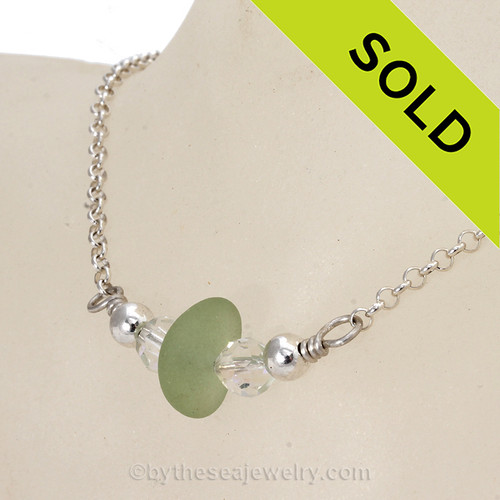 Simply Sea Glass - Glowing Yellowy Seafoam Green Sea Glass Necklace with Vintage Crystal Beads on All Solid Sterling Silver - 17.5 Inches