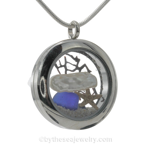 Cobalt Blue Genuine Sea Glass combined with Real Stick Pearl and baby starfish. Beach sand makes this your own personal beach on the go!