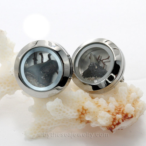 Shark Attack - Stainless Steel Cufflinks With Real Sharksteeth (no Sea Glass)