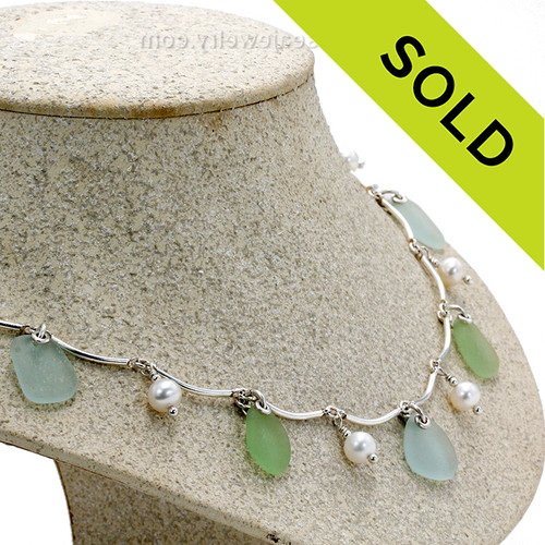 Sea Green and Pale Aqua Blue Genuine Beach Collected Sea Glass on a Solid Sterling Silver Curved Bar Necklace with Sterling Beautiful AAA Creamy Fresh Water Pearls