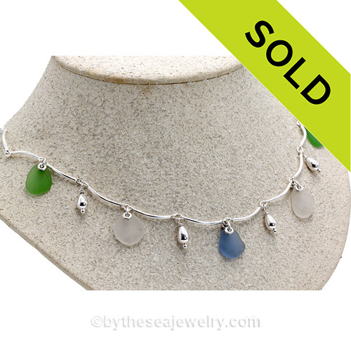 Green, White and Blue Genuine Beach Collected Sea Glass on a Solid Sterling Silver Curved Bar Necklace with Sterling Beautiful Sterling Teardrop Beads in a elegant necklace.