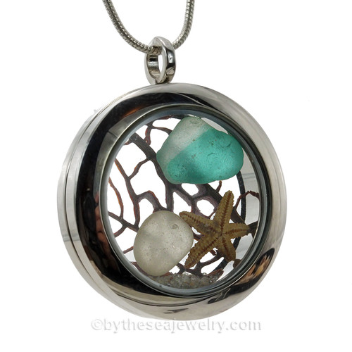Mixed Electric Aqua Green Seaham Multi combined with a small white sea glass piece and  a real baby starfish makes a lovely beachy locket for any beachlover.