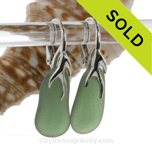 Seaweed Green Beach Found Sea Glass Earrings on Solid Sterling Silver Coral Branch Leverbacks