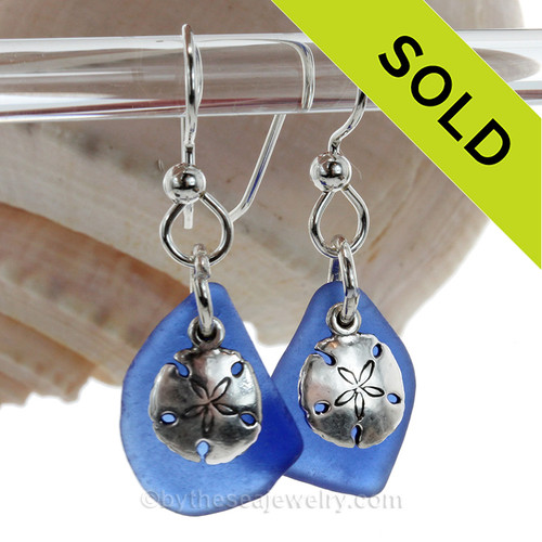 Genuine Beach Found Blue Sea Glass Earrings With Sterling Silver Sandollar Charms.