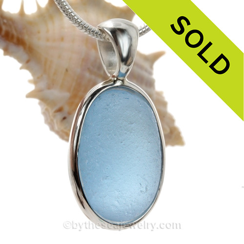 Stunning PERFECT Carolina Blue Seaham Sea Glass set in our Deluxe Wire Bezel© pendant setting.