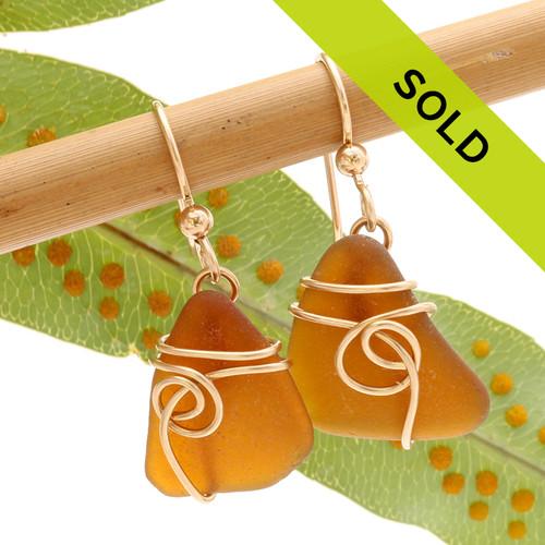 Amber Brown Sea Glass Earrings In 14K Rolled Gold Sea Swirl