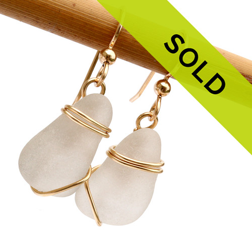 Sorry this pair of white sea glass earrings in gold has sold!
