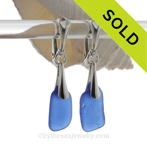 Squarish Cobalt Blue Sea Glass on Solid Sterling Silver Deluxe Dangly Leverbacks