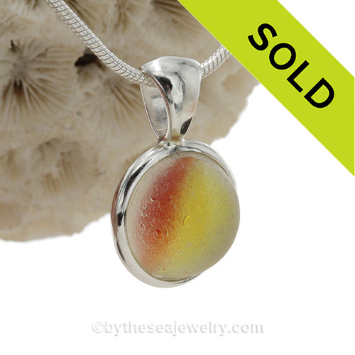 Rare Orange and Yellow Catseye Beach Found  Marble Pendant In Deluxe Solid Silver Sterling Wire Bezel.