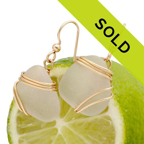 Pure White Sea Glass Earrings In 14K Goldfilled Triple Wire Setting
