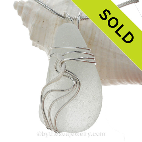 Long White Genuine Sea Glass In Sterling Waves© Setting Pendant for Necklace