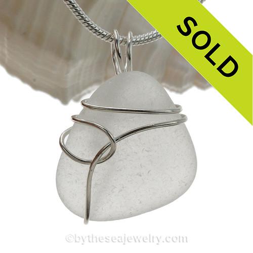 White Genuine Sea Glass Pendant In Sterling Silver Deco inspired Wrap