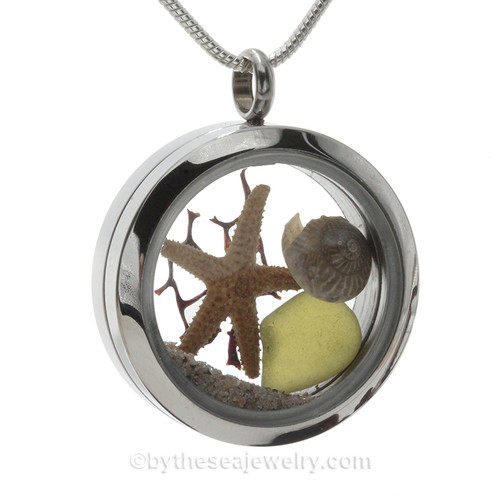 Genuine peridot green Sea Glass Locket with a small REAL starfish and tiny nautalis shell a real beach sand in this stainless steel locket.