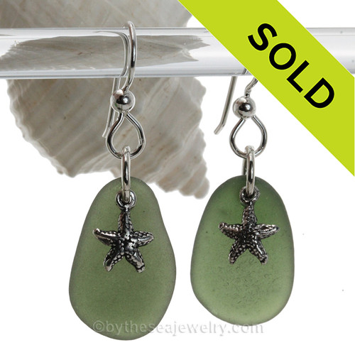 Long Large Beach Found Seaweed Green Sea Glass Earrings On Sterling W/ Solid Sterling Starfish Charms