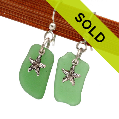 Sorry these green sea glass earrings with silver starfish have been sold!