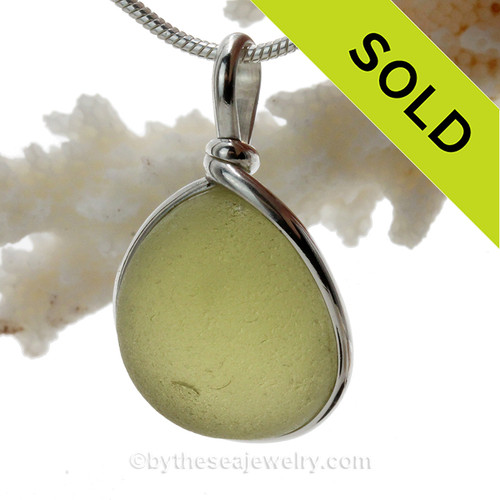 Great piece of natural Seaweed Green Genuine Sea glass in my Original Sterling Silver Wire Bezel© a simple design that lets all the beauty of this glass shine.