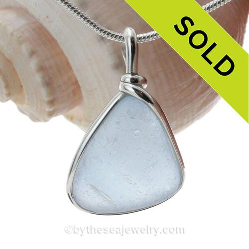 Carolina On My Mind  - Carolina Blue Natural Sea Glass In Original Sterling Silver Wire Bezel© Necklace Pendant