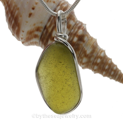 Long Electric Thick Peridot Green Sea Glass Jewelry set in our Original Wire Bezel© pendant setting in Sterling Silver .