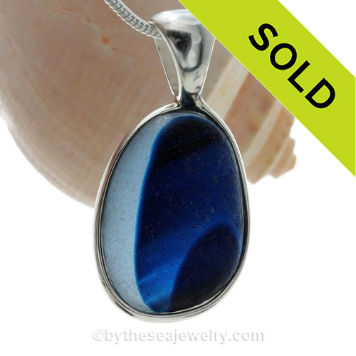 L-A-R-G-E Mixed Midnight Blue Mixed English Art Sea Glass In Sterling Silver Deluxe Wire Bezel© Pendant