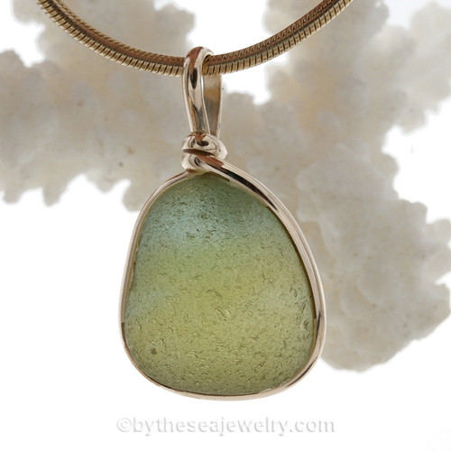Mixed Peridot Green Seaham Sea Green Sea Glass In our Original Gold Wire Bezel©