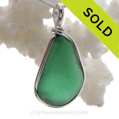Teal Green Sea Glass in our Original Wire Bezel© pendant setting in solid sterling silver.
