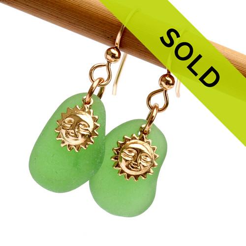 Green Genuine Sea Glass Earrings W/ Goldfilled Sun Charms