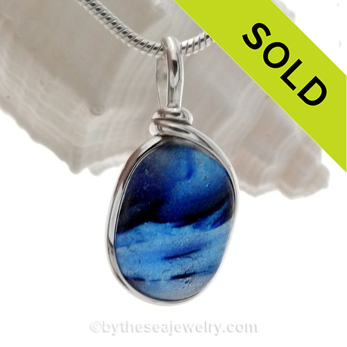 Squid Dreamz - Inky Blue Mixed Multie Seaham Sea Glass In Solid Sterling Wire Bezel© Necklace Pendant