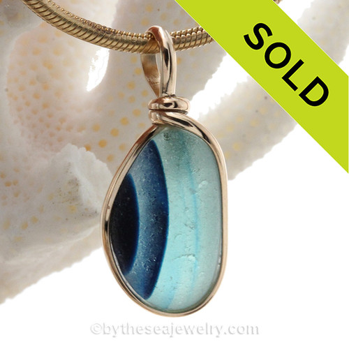 Cross Sectioned Aqua Blue English Art Sea Glass In 14K G/F Original Wire Bezel©
