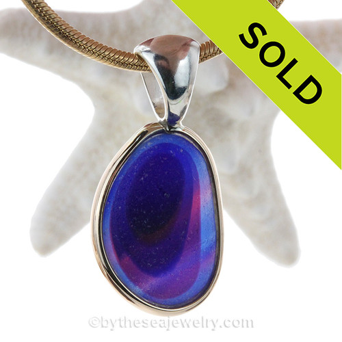 This amazing Ultra Rare multi color sea glass piece is versatile in a mixed metal Deluxe Wire Bezel© pendant setting.