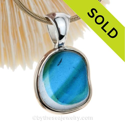 Sea Dreams - SUPER ULTRA & PERFECT Aqua, Green & Blue English Sea Glass In Mixed Tiffany Deluxe Wire Bezel©