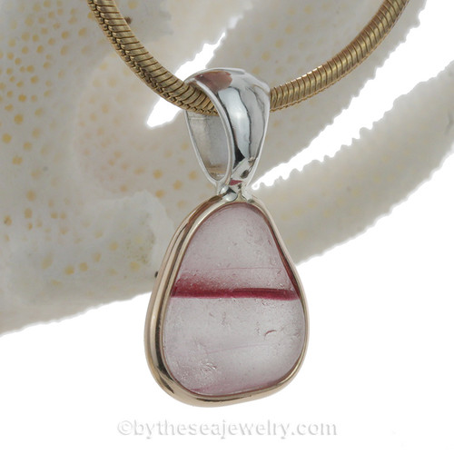 ULTRA ULTRA RARE Magenta Hot Pink Cross Sectioned Multi Sea Glass Pendant In Deluxe Wire Bezel Setting©