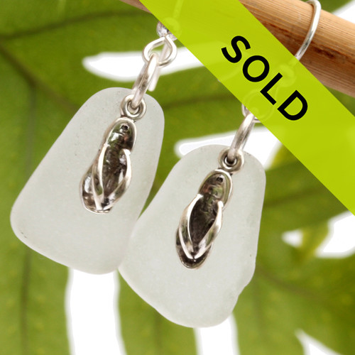 Sea Charmed - Large White Sea Glass With Flip Flops Earrings Genuine white sea glass with sterling charms.