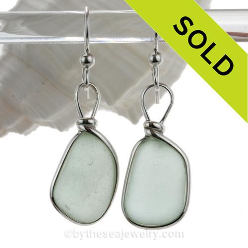 Large Fresh Vivid Seafoam Green Beach Found Sea Glass Earrings In Solid Sterling Silver Original Wire Bezel©