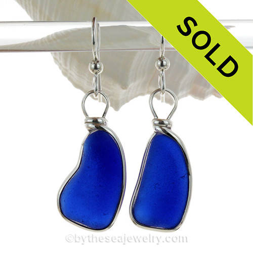 LARGE LONG Genuine Cobalt Blue Sea Glass Earrings In Sterling Wire Bezel©  LONG and LARGE cobalt blue sea glass set in our signature Original Wire Bezel Setting© These pieces are actually large enough to be pendants but we know that some of our ladies like larger earrings.  They are surprisingly lightweight as it is a thinner sea glass.
