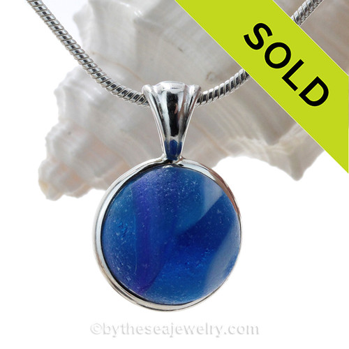 Blue Planet - Genuine Vivid Blue Beach Found Seaglass Marble In Deluxe Wire Bezel© Necklace Pendant