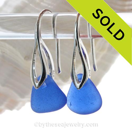 Cobalt Blue Sea Glass Earrings On Silver Silver Deco Hooks