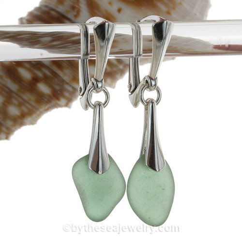 Irregular shaped Green Genuine Sea Glass Solid Sterling Silver Dangly Deluxe Leverback Earrings.