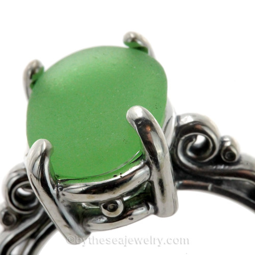 Bright Green Sea Glass in a Solid Sterling Scroll Setting